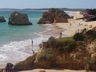 Vau beach in Alvor with many seafood restaurants and bars
